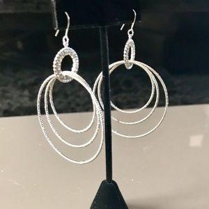 Diamond Cut Pave Multi Hoop Earrings